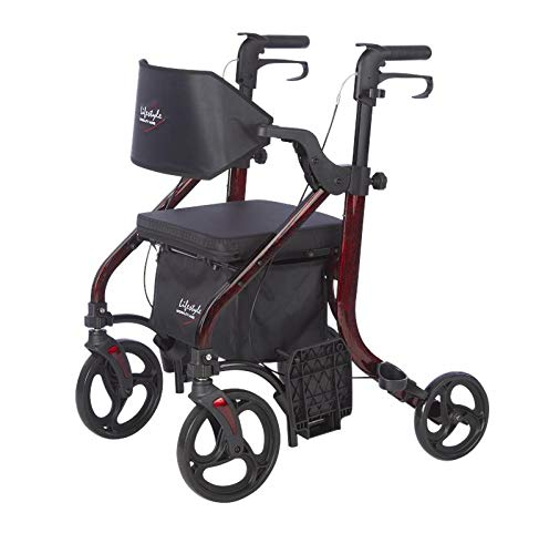 Lifestyle Mobility Aids Deluxe Translators - 2 in 1 Rollator Transport Chairs (Laser Red)