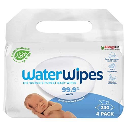 WaterWipes Toallitas de bebé (4 x 60 unidades), las toallitas húmedas más puras para pieles suaves de bebé, toallitas limpiadoras compostables 100% de origen vegetal – 240 toallitas