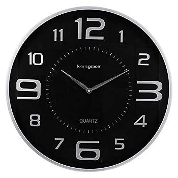 Kiera Grace Decorative Round wall-clocks 18-Inch Silver