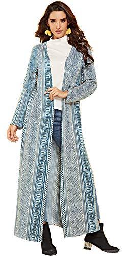 SZIVYSHI Langarm Lang Langer Lange Lang Maxi Seite Schlitz Barock Ethnisch Stammes Afrikanische Aztekisch Geometrisch Strickjacke Strickmantel Bluse Hemd Trench Coat Mantel Oberteil Top Blau XL