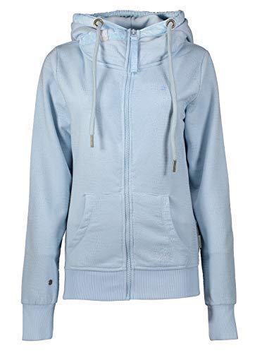 Zhrill Damen Sweatjacke Zip Hoody Kapuzenjacke mit Reißverschluss Lenny Light Blue Mel