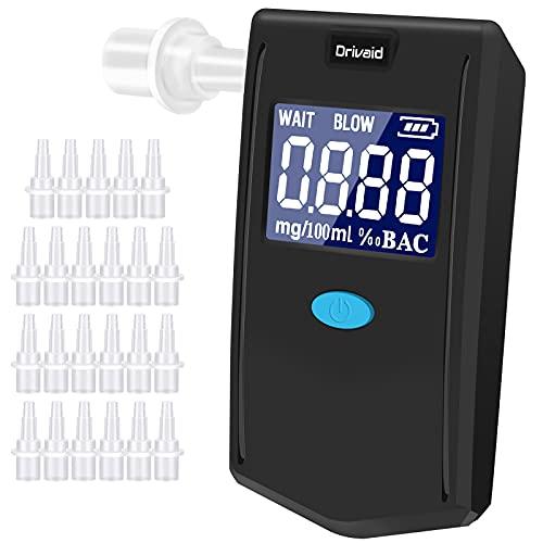Drivaid Alcoholimetro Profesional con Sensor Semiconductor Alta Precision, Digital Pantalla LCD, 3 Unidades de Medida, Fácil de Usar, Probador de Alcohol Portatil Reutilizable con 24 Boquillas