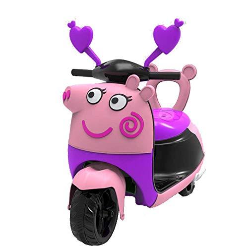 Fenfen-cz Nuevo Triciclo de Dibujos Animados for niños, Motocicleta eléctrica, Triciclo, batería de Dibujos Animados for bebés, Carro de bebé, niño, niña, Coche de Juguete (Color : Purple)