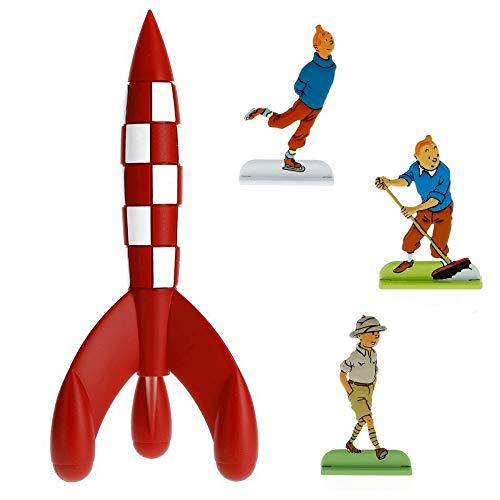 Moulinsart Set Regalo de colección: El Cohete Lunar de Tintín con Tres figuritas en Relieve