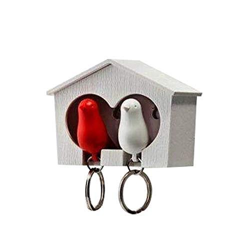 Outflower Llavero Forma Casa Pájaros Metal Usar Largo