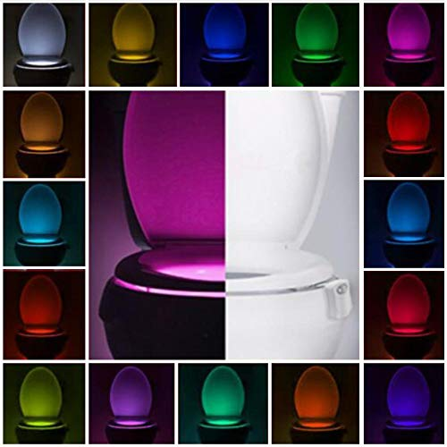 Toilet Night Light - Advanced 16 Color Motion Sensor LED Toilet Bowl Lighted Motion Activated Toilet Color Lights Motion Detection Smart Home Device for Bathroom Lights Internal Memory 5 Stage Dimmer