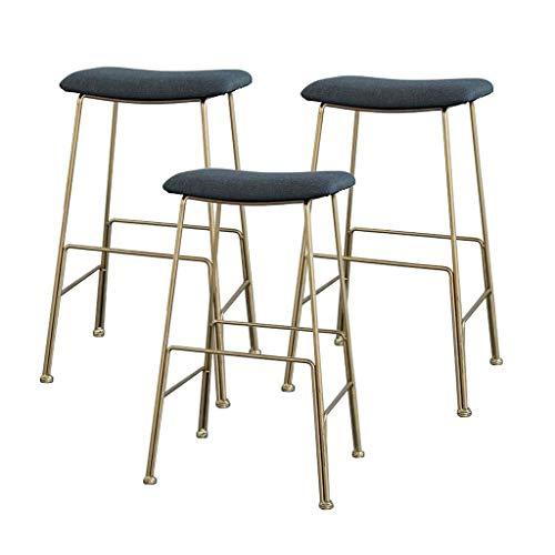 WWW-W-DENG barkruk, modern en comfortabel, barkruk, bar, stoelkussen, velours, goudkleurig, metaal, benen, hoogte zitting: 55 cm/65 cm/75 cm, grijs