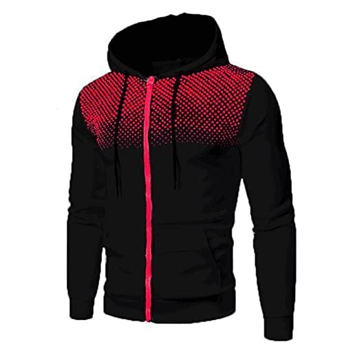 Zip Sweatjacke Herren Kapuzenjacke Slim Fit Hoodie Moden Sweatshirt Langarm Pullover-Shirt mit Kapuze Sportjacke Outdoorjacke Kapuzenpullover Sweatshirt