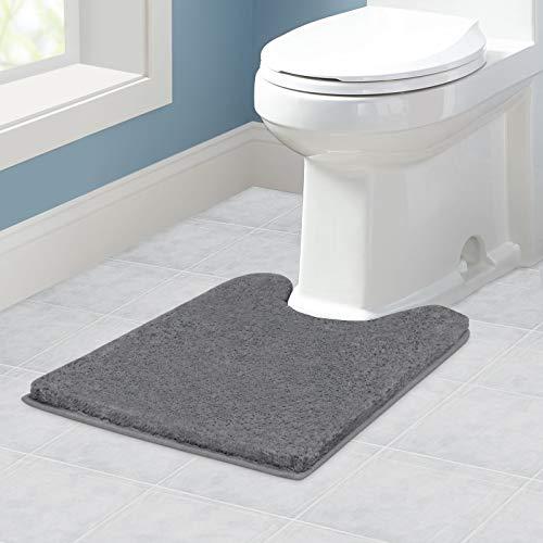 VANZAVANZU Tapis Contour WC Antidérapant Tapis de Toilette WC Épaissi Tapis WC Absorbant Tapis Salle de Bain Ultra Doux en Microfibre, Séchage Rapide, Lavable en Machine - 50 x 60cm (Gris Foncé)