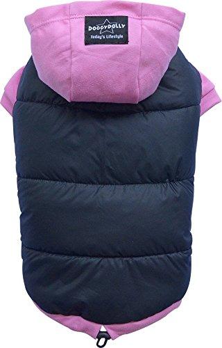 Doggy Dolly W262 Hundemantel/Hundepullover wasserabweisend mit Kapuze, schwarz/pink, Wintermantel/Winterjacke (M- Brust 41-43 cm Rücken 28-30 cm)