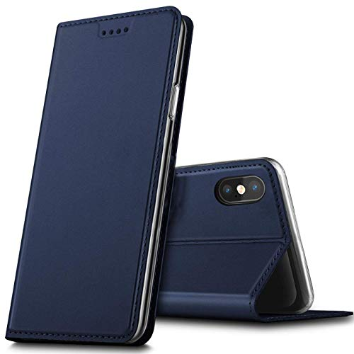 Verco Handyhülle für iPhone XS, Premium Handy Flip Cover für Apple iPhone X/XS Hülle [integr. Magnet] Book Hülle PU Leder Tasche (5,8 Zoll), Blau