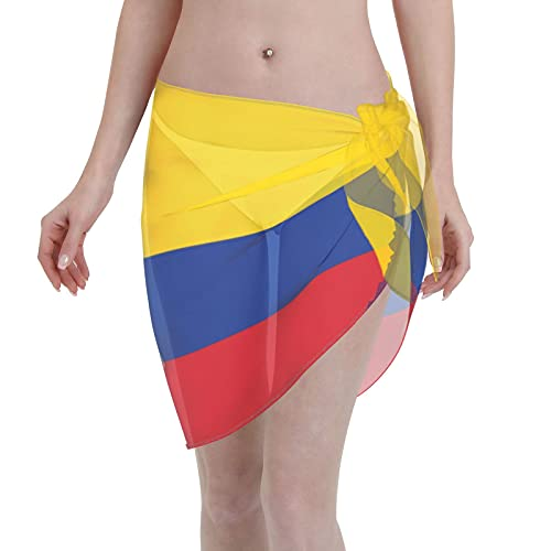 Colombia Colombian Flags Women Short Sarongs Beach Wrap Bathing Suits Cover Ups Sheer Short Skirt Bikini Chiffon Scarf Black
