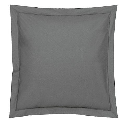Blanc des Vosges Uni Satin Taie Coton Ardoise 65x65 cm