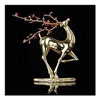 """クリスマスホームオフィスの装飾8.5"""" 用銅鹿の像、動物オーナメント置物×3.3"""" ×9.6"""" (Color : Gold)"""