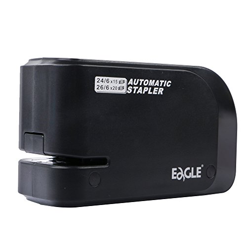 Eagle Automatic Stapler, Heavy Duty, Electric, 20 Sheet Capacity, Battery or AC Powered, Black