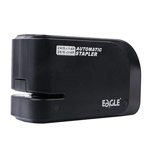 Eagle Grapadora eléctrica - Grapadora automática resistente, capacidad de 20 hojas, batería o corriente alterna, color negro