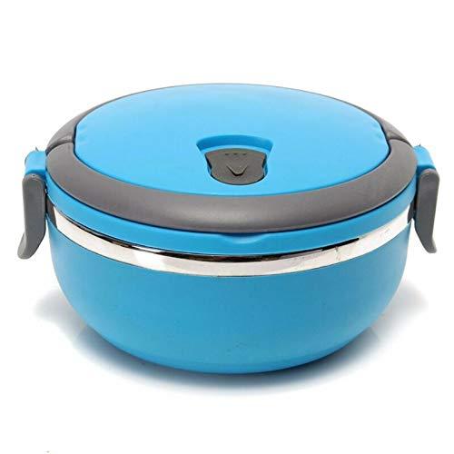 yqs Warmhalten LunchBoxen Edelstahl Thermo isoliert thermische LebensmittelBehälter Bento Runde Lunch Box 1 Schicht Thermobehälter Lunchbox Blue