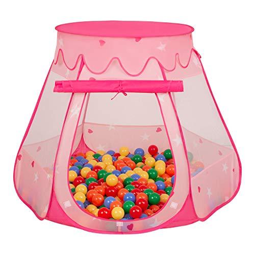 Selonis Baby Spielzelt Mit Plastikbällen Zelt 105X90cm/200 Bälle Plastikkugel Kinder, Pink:Gelb-Grün-Blau-Rot-Orange