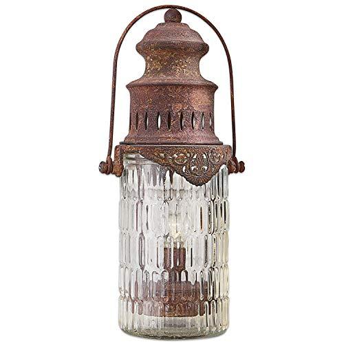 Loberon Laterne Perceval, Glas/Eisen, H/B/T ca. 27,5/12,5/9,5 cm, antikbraun
