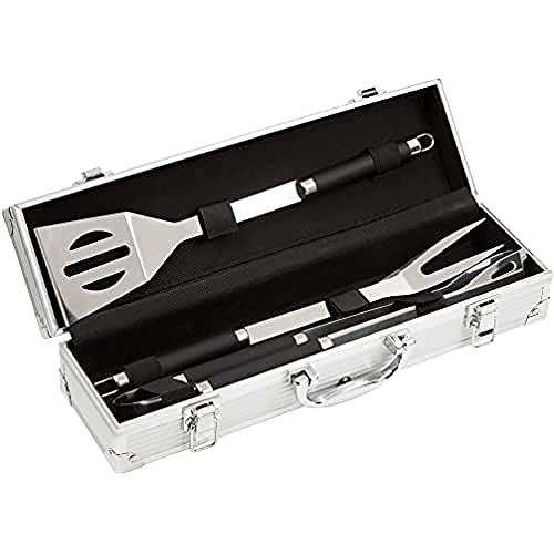 Bruzzzler Set posate da grill in acciaio inox, 3 pezzi, in valigetta