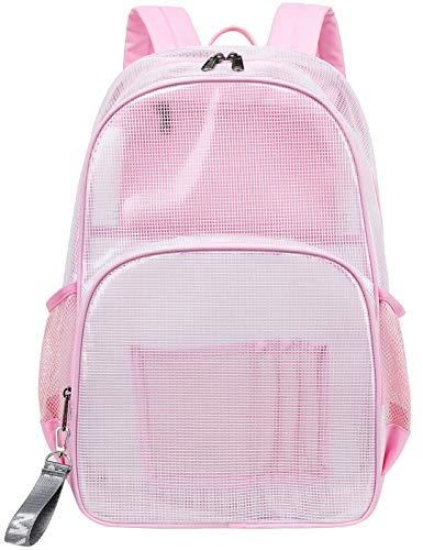 Mairle Heavy Duty Mesh Backpack See Through Bag Stadium Approved Schoolbag with Laptop Compartment,...