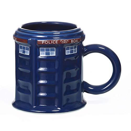 Tasse Kaffeebecher Doctor Who Tardis Police Box Keramikbecher Tasse Mit Deckelabdeckung Für Tee Kaffeebecher Lustiges Kreatives Geschenk Weihnachtsgeschenke Kinder Männer, 380Ml Runde Tasse