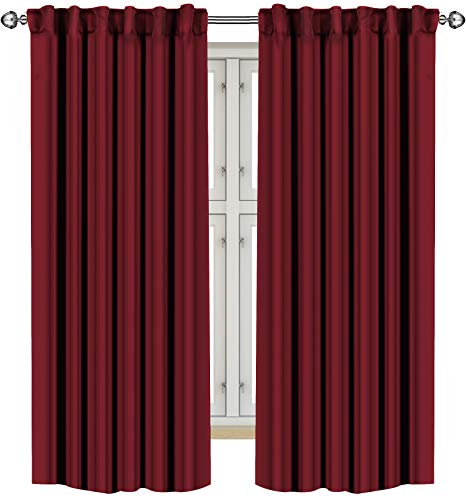 Utopia Bedding 2 Panels Blackout Curtains, W52 x L84 Inches, Burgundy, Thermal Insulated Window Draperies - 7 Back Loops per Panel - 2 Tie Backs Included