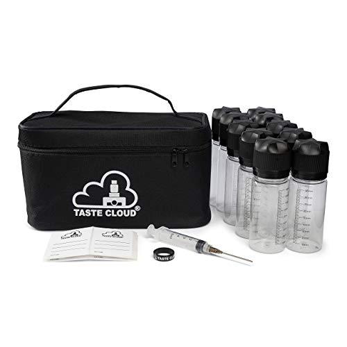 TASTE CLOUD® E-Zigarette Zubehör Mischset mit 10x 100ml Liquid Dosierflaschen zum selber Mischen für E-Zigaretten mit Tragetasche, Stumpfer Nadel mit Spritze, 10x Etiketten und Vape Band.