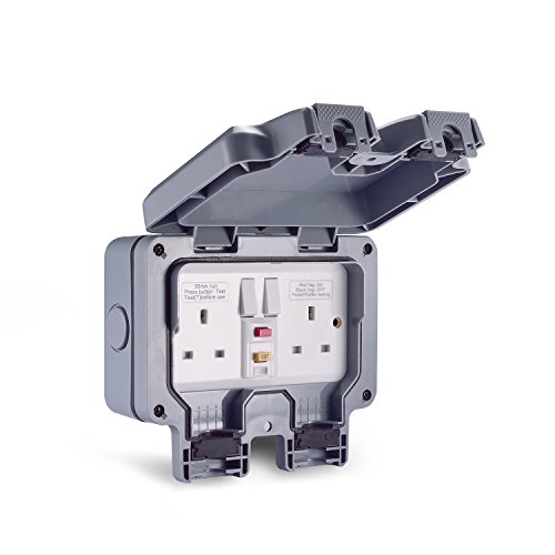 Aodoka Outdoor Socket, Weatherproof Storm RCD Socket Double Switched 13 A 2 Gang IP66
