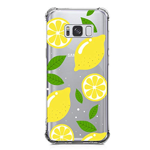 Galaxy S8 Case Clear with Lemon Design Shockproof Protective Case for Samsung Galaxy S8 5.8 Inch Cute Summer Fruit Yellow Pattern Flexible Soft Slim Rubber Floral Cell Phone Back Cover for Girls Women