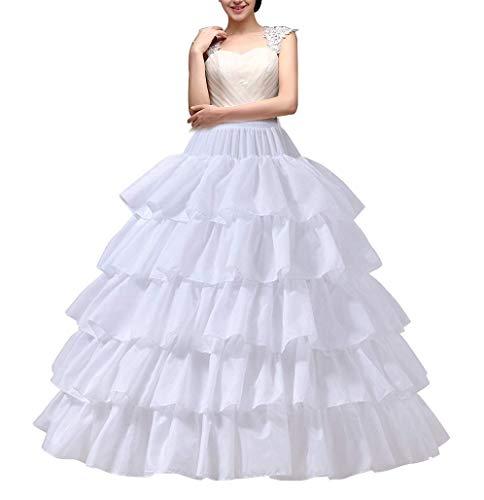 YULUOSHA Crinoline Enagua de 4 aros falda 5 capas de volantes vestido de bola medio deslizamiento debajo de la falda para boda vestido de novia, Blanco, waist:60-90cm length:100 ±...