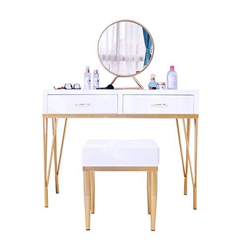 Table de Maquillage avec Miroir Vanity Set avec Miroir Coiffeuse 2 tiroirs (Couleur, Taille : 100x40x75cm)