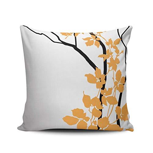SUN DANCE Funda de almohada para decoración del hogar, diseño de árbol en fondo blanco y gris, funda de almohada de doble cara, estampado cuadrado, 61 x 61 cm