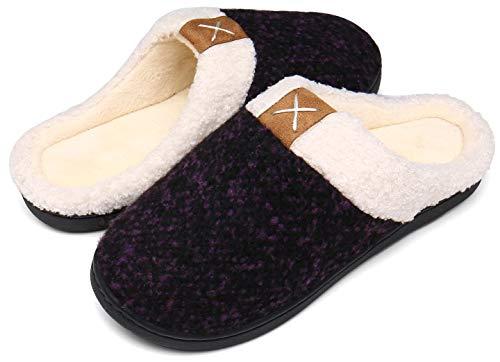 Mishansha Zapatillas De Estar por Casa para Mujer Antideslizante CáLido Invierno Pantuflas Casa Cómodas Suave Memory Foam Slippers,Morado,38/39