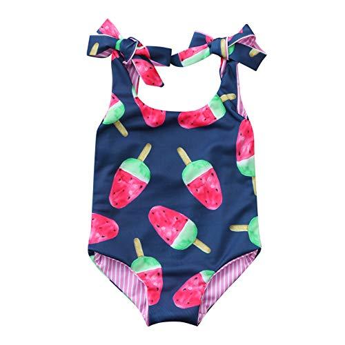 Bañador para bebé niña – Bonito portátil de doble cara con estampado en crema helada de una sola pieza, traje de natación, traje de playa, conjunto de playa de 6 meses a 4 años rosa 2-3 años