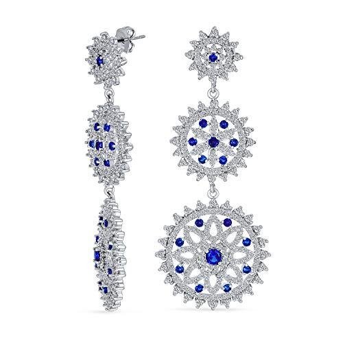 Moda Blu Cubic Zirconia Pave CZ Grande Disco Rotondo Goccia Orecchini Pendenti Per Donne Prom Piastra Di Argento Ottone