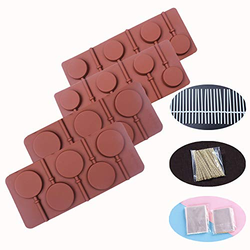 Baker Depot Silikonform für Lutscher, Schokolade, Süßigkeiten, Gummi, Kekse, verschiedene Kombinationen rund 4er Set