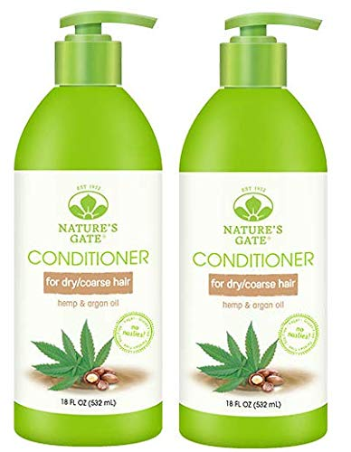 Nature's Gate Hemp + Argan Oil Nourishing Conditioner (Pack of 2) with Jojoba Seed Oil, Butcher's Broom Root Extract, and Elder Flower Extract, 18 oz.