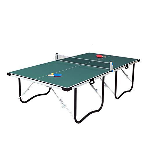 WENXU Mesa de Ping Pong Estándar Mesa de Tennis Interior Portátil,Juego Casa Profesión Plegable Formación Mesas Mesa de Juego Escritorio/Green / 275x153x76cm
