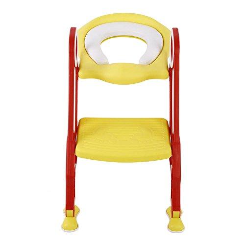 Adaptador WC Niños con Escalera, Asiento WC Niños Plegable Ajustable con Almohadilla Suave de PU, Escalera Orinal Bebé Asiento Inodoro Infantil Antideslizante (Rojo+Amarillo)