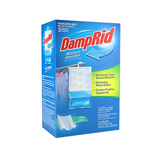 DampRid Pure Linen Hanging Moisture Absorber, 3 Pack, For Fresher, Cleaner Air in Closets