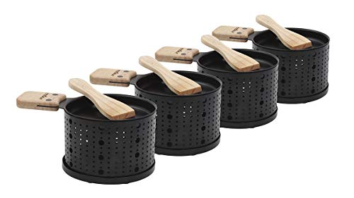 COOKUT - Lumi - Une raclette à la Bougie - Faites Fondre Votre Fromage en 3 Minutes - A Table, Devant la télé ou même en Pique Nique - Spatule Bois inclues - sans électricité - Pack de 4 appareils