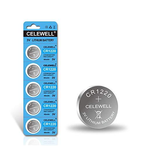 【5-Year Warranty】 CELEWELL CR1220 3V Lithium Battery 40mAh for Fairy Pearls/LED Light/Bracelet/Flashlight/Clock (5-Pack)