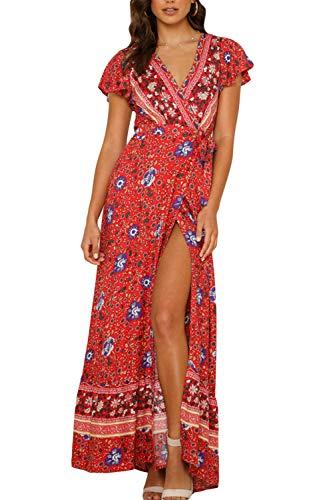 Zilcremo Damen Boho Kleider Sommerkleider Lang Blumenkleid Maxikleid Kurzarm V-Ausschnitt Strandkleid Böhmisch Kleid mit Schlitz 3 L