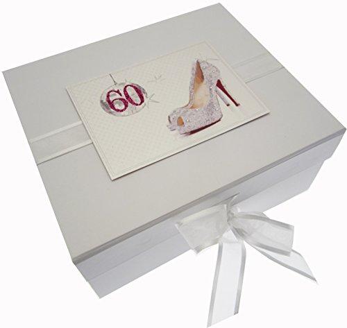 White Cotton Cards Boîte souvenir d'anniversaire 60 ans Paillettes Boule et chaussures (Petite taille)