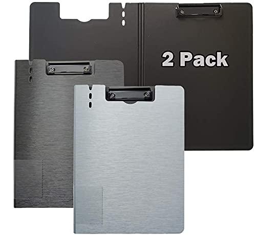 Portapapeles / 2 paquetes Portapapeles de 360 grados portapapeles plegables portapapeles con titular de la pluma Junta de enfermería ligera para la escuela de oficinas (Color : Black+white)
