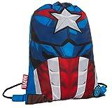Mochila para niños Marvel Capitán América con cordón para gimnasio Vengadores Deportes Natación PE Kit, azul (Azul) - MNCK13216