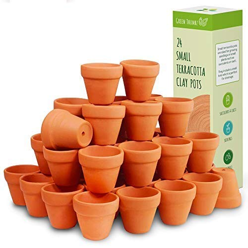 Green Thumbz Small Clay Terracotta Plant Pots Mini Plant and Flower Pots Pottery Plant Pots and Herb Planter for Herbs, Seeds, Plants and Flowers (24 Pack)