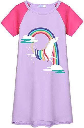 Arshiner - Camicia da notte a maniche corte in cotone, per bambine, estiva e principessa Lilla 100 cm(3-4 anni)