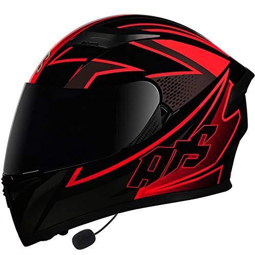 Casco Bluetooth Full Face de Motos, Casco de Motocicleta con Bluetooth con Doble Visera Anti Vaho Anticolisión para Adultos,Certificacion ECE/DOT C,M=54~57CM